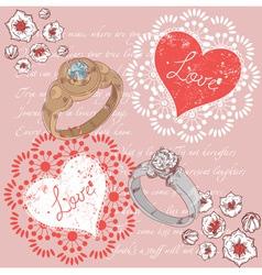 Valentine romantic retro greeting postcard vector image vector image