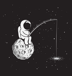 astronaut with a fishing rod vector image vector image