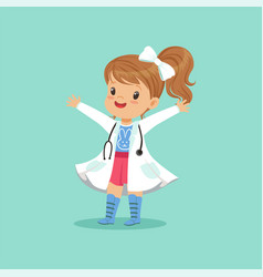 cheerful baby girl in white coat and stethoscope vector image