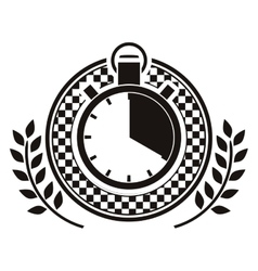 chronometer prize in monochrome with olive branch vector image vector image