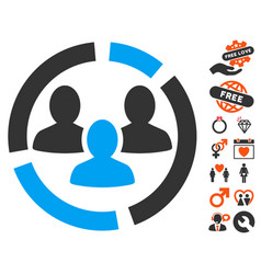 demography diagram icon with lovely bonus vector image