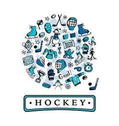 Hockey banner sketch for your design vector image