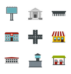 modern city icons set flat style vector image vector image