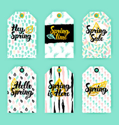 spring nature trendy gift labels vector image vector image