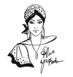 stylish woman with turban vector image vector image