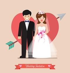 Newlyweds bride and groom wedding invitation vector image