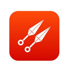 ninja weapon kunai icon digital red vector image vector image