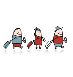Peoples with suitcase and ticket cartoon vector image vector image