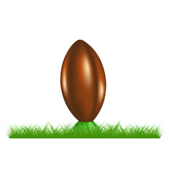 retro rugby ball on kicking tee standing in grass vector image