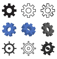 Set of nine gears isolated vector image