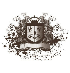 Shield with scroll vector