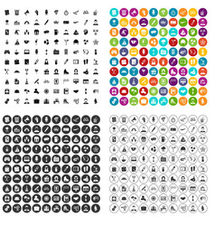 100 team building icons set variant vector image