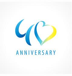 40 anniversary logo heart vector