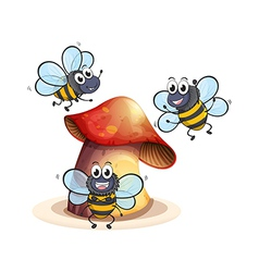 A big mushroom plant with three bees vector image