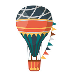 air balloon decorated with flags isolated on white vector image