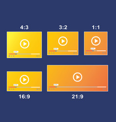 Aspect ratio scale size responsive video player vector