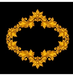 Baroque ornamental antique gold frame on black vector