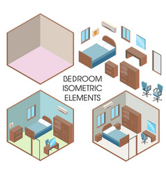 bedroom interior constructor flat vector image