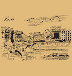 beige hand drawing paris 7 vector image