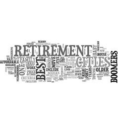 Best retirement cities text word cloud concept vector