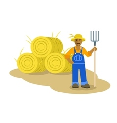 Black farmer man standing with pitchfork vector
