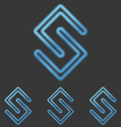 Blue line s logo design set vector