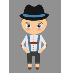 Boy cartoon hat oktoberfest icon Germany vector