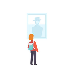 Boy with backpack looking at the painting hanging vector