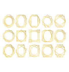 card design geometric golden frames vector image