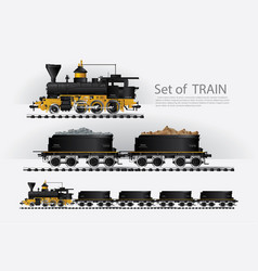 Cargo train on a rail road vector