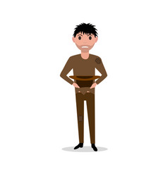 Cartoon man dirty indigent beggar homeless vector