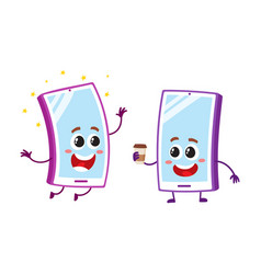 Cartoon mobile phone characters smiling happily vector