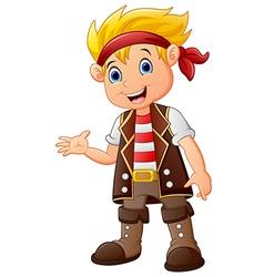 Cartoon pirate waving vector