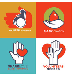 charity blood or donation or medical and vector image