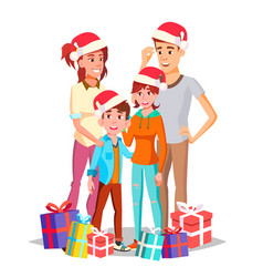 christmas family dad mother kids in vector image