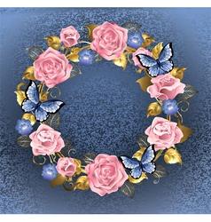 Circle of Pink Roses vector image