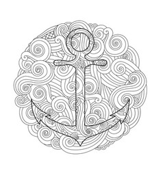 coloring page with anchor in wave mandala vector image vector image