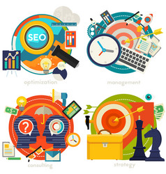 consulting management seo and strategy concept vector image