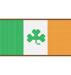 Cross Stitch Irish Flag with Shamrock vector image