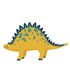 Cute baby dinosaur stegosaurus isolated on white vector