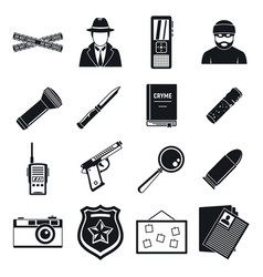 Detective crime investigation icons set simple vector