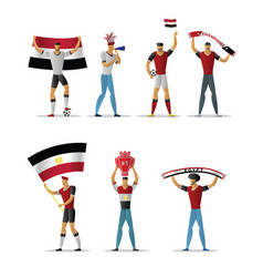 egypt football fans cheerful soccer supporters vector image