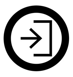 entry input enter door icon black color in circle vector image