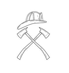 Fireman helmet with crossed fire axe line drawing vector