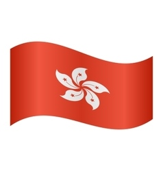 Flag of Hong Kong waving on white background vector image