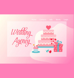 Flat wedding agency banner vector