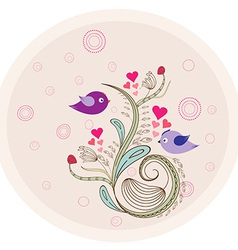 Flower vintage doodle florals and birds vector