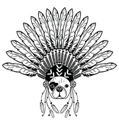 French buldog with tribal headdress with plain vector