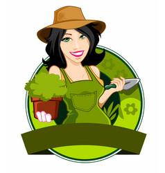 girl farmer logo cartoon vector image