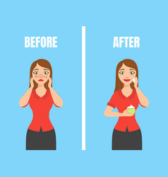 Girl with acne before and after skin treatment vector